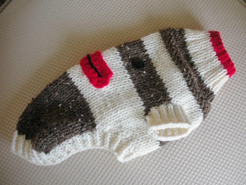 Sock Monkey Dog Sweater XSmall Small Medium by bychancedesigns