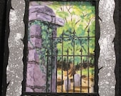Decatur Cemetery Gate Print w/ Handpainted Mat SMALL VERSION
