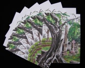 Tree Monster in the Cemetery 6pc Blank Note Card Set with Envelopes