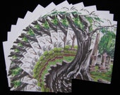 Tree Monster in the Cemetery - 12 pc Blank Note Card Set with Envelopes