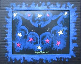 Bat Folk Art Print in Hand Painted Cardboard Matt