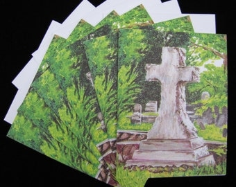 Large Cross in Decatur Cemetery 6 pc Blank Note Card Set with Envelopes