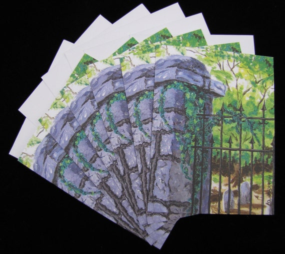 Decatur Cemetery Gate 6 pc Blank Note Card Set with Envelopes