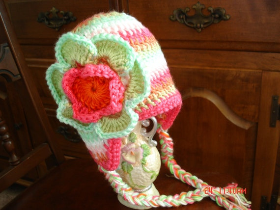 Toddler girl, colorful Earflap Crochet Hat, joyful  Strips Beanie2T to 3T-- FLAPEAR BabyHat-- ready to ship