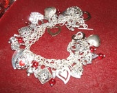 Vtg Sterling Charm Bracelet Hearts Love Valentines Day Fully Loaded