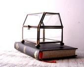 Vintage Glass and Brass Curio / Trinket Box