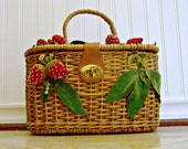 Vintage Wicker Woven Purse With Felt and Velvet Strawberries