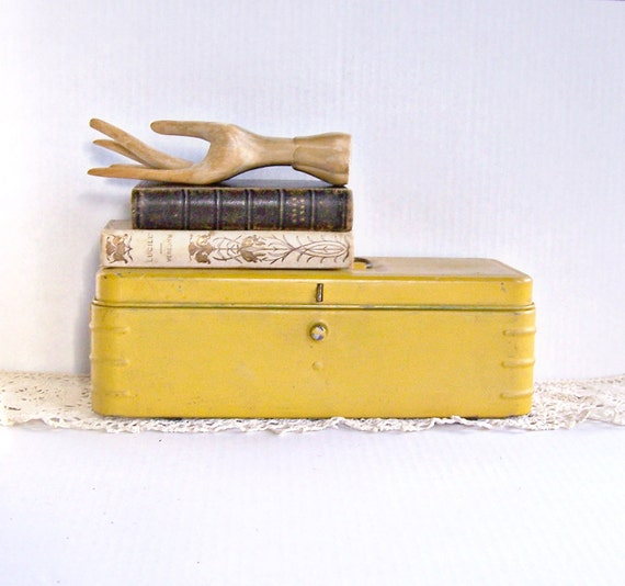 Vintage Industrial Yellow Tool Box with Handle