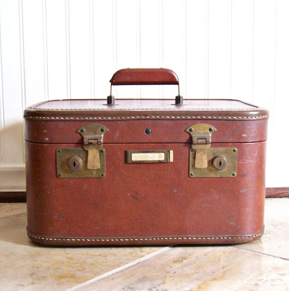 RESERVED for MeganH ONLY / Vintage Leather and Brass Train / Over Night Travel Train Case / Luggage