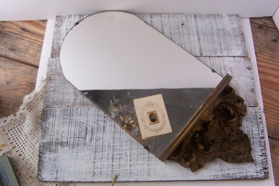 Vintage 1920's Antique Mirror with Gold Shelf