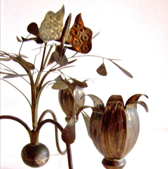 Vintage Metal Candelabra with Leaves and Flowers