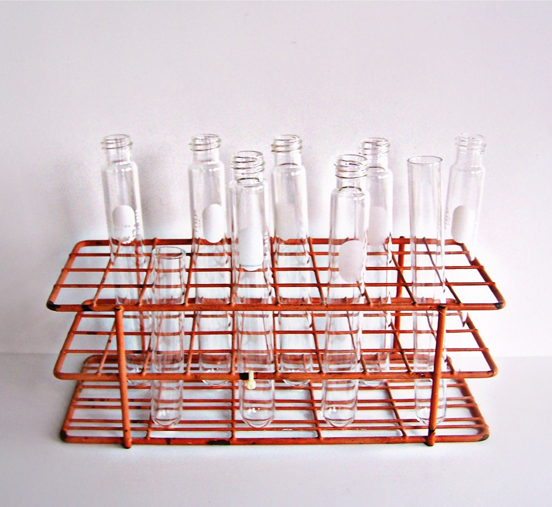 Vintage Chemistry Test Tubes And Test Tube Holder Stand