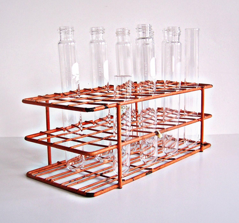 Vintage Chemistry Test Tubes And Test Tube Holder / Stand