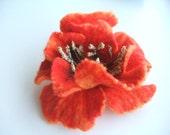 Felt bright Orange/Red poppy brooch / Ready to ship
