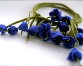 Felted necklace  Blue  blossoms
