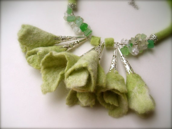 Felt necklace Light green with glass, stone and metal/ Ready to ship
