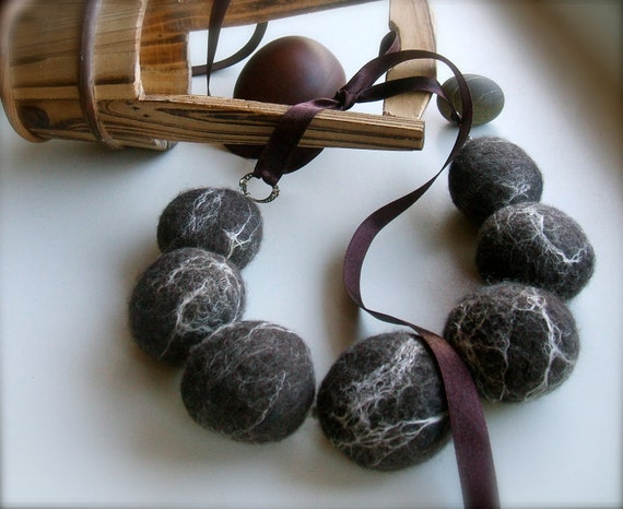 "RESERVED Dark brown felt necklace ""Stones"" with ribbon"