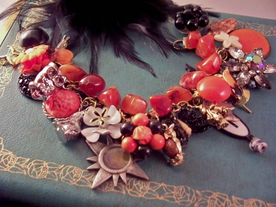 Trick or Treat 2 Repurposed Vintage Jewelry Charm Bracelet