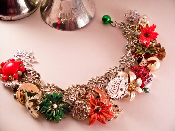 Merry Christmas Repurposed Vintage jewelry charm bracelet, one of a kind