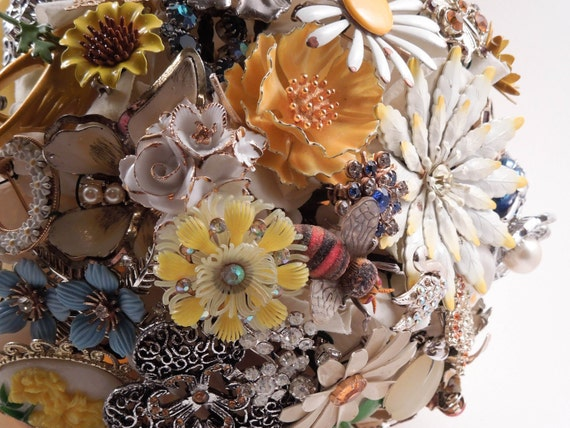You Are My Sunshine Repurposed Vintage Brooch Bridal Bouquet