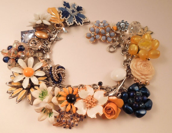 Blue and Gold Banquet Repurposed Vintage Jewelry Charm Bracelet One of a Kind