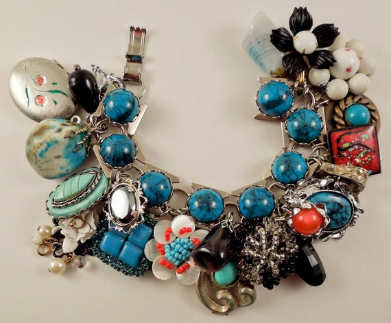 Reserved for Cassie! Turquoise Trail Repurposed Vintage Jewelry Charm Bracelet one of a kind Southwestern