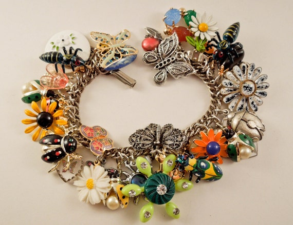 Bugs Life Repurposed Vintage Jewelry Charm Bracelet One of a kind