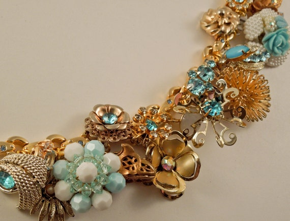 Golden Girl Repurposed vintage jewelry charm bracelet one of a kind