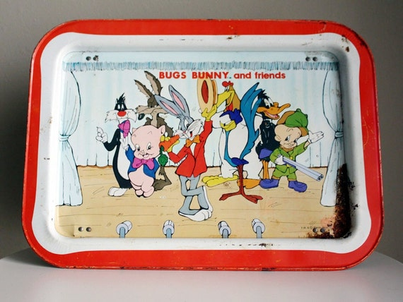 Vintage 1970s Bugs Bunny and Friends Looney Tunes Metal TV Tray