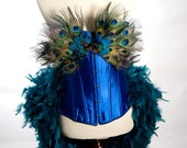 SMALL Peacock Costume Burlesque Feather Corset Fantasy Fairy Royal Blue Bird Teal Sexy Adult Women's