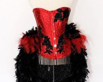 LAST ONE : EVA  Las Vegas Showgirl Burlesque Corset Adult Halloween Costume plus Fishnets Ruffle Panty Custom Size