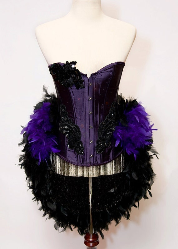 VIOLET : Custom Size Vegas Showgirl Burlesque Moulin Rouge Corset Adult Halloween Costume Purple and Black PLUS Fishnets Satin Gloves