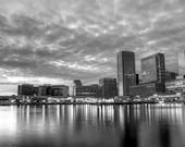 Baltimore in Black and White (Crop A  -  Baltimore City and it's Inner Harbor  -  8x12 or 8x10 Print )