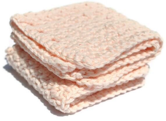 Sale  Peach Pastel Crochet Cotton Wash cloths 2 Floral Scented Dish cloths Scrubbies