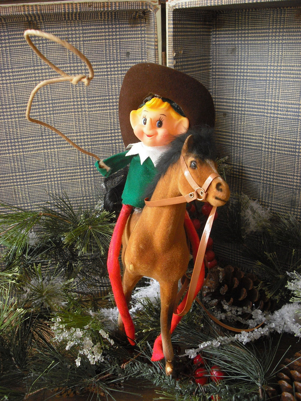 Elf On The Shelf On A Horse Cowboy Vintage
