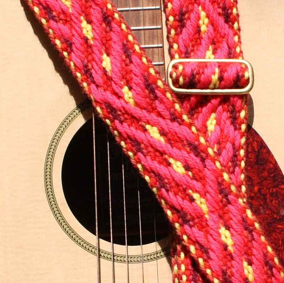 Guitar Strap, Adjustable, Handwoven Cloth, Fire Wood Pattern