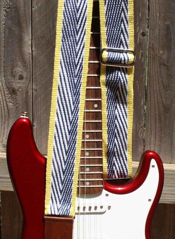 Guitar Strap, Adjustable, Handwoven Cloth, Blue Gradient Arrows