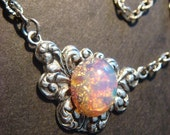Victorian Style Fire Opal Necklace in Antique Silver (359)