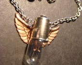 Steampunk Flying Light  Bulb with Copper Wings Necklace (409)