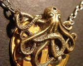 Steampunk Octopus Necklace on Vintage  Brass Watch Movement with Exposed Gears - Neo Victorian-Upcycled (412))