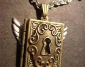 Steampunk Book Locket with Wings and Ornate Key Hole in Antique Brass (461)