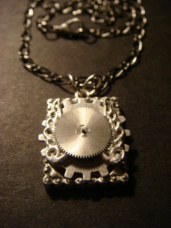 Steampunk  Flying Gear on Frame Necklace