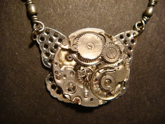 Steampunk Watch Movement  Necklace with Filigree Wings