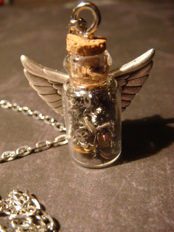 Steampunk Time in s Bottle Necklace with Wings- Upcycled Watch Parts and Gears