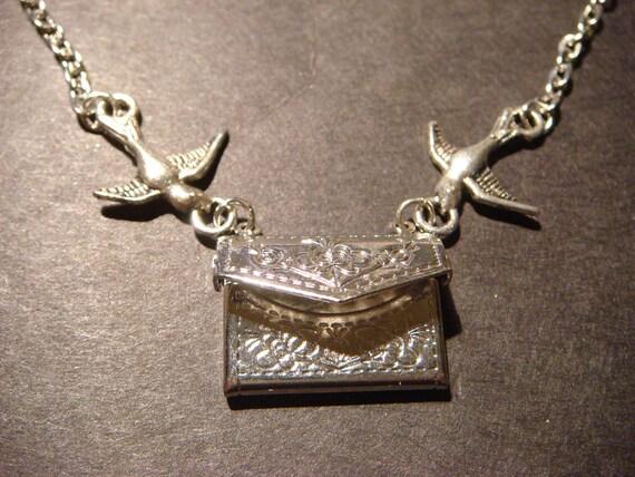 Flying Envelope locket Necklace with Floral Design and Birds