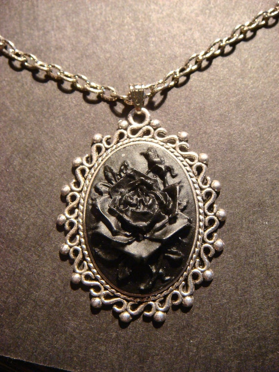 Black Rose Cameo Necklace with Ornate Old World Lace Antique Silver Setting
