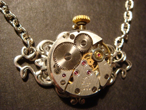 Steampunk  Neo Victorian Watch Movement Necklace on Floral Calligraphy Setting