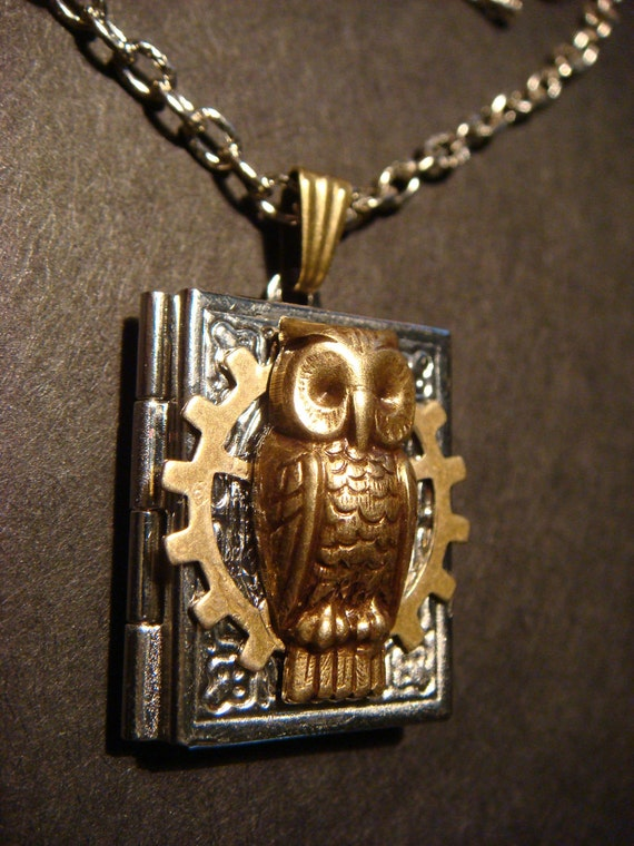 Victorian Style Steampunk Owl  with Gear Locket Necklace