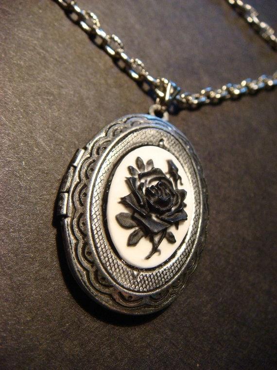 Black Rose Cameo Locket  Necklace in Antique Silver