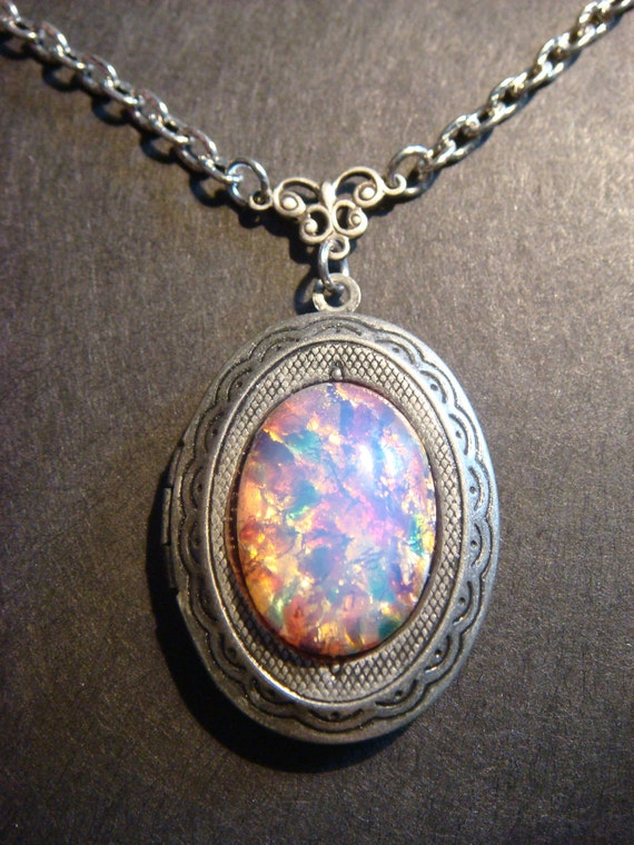 Victorian Style Fire Opal  Locket Necklace in Antique Silver  (387)